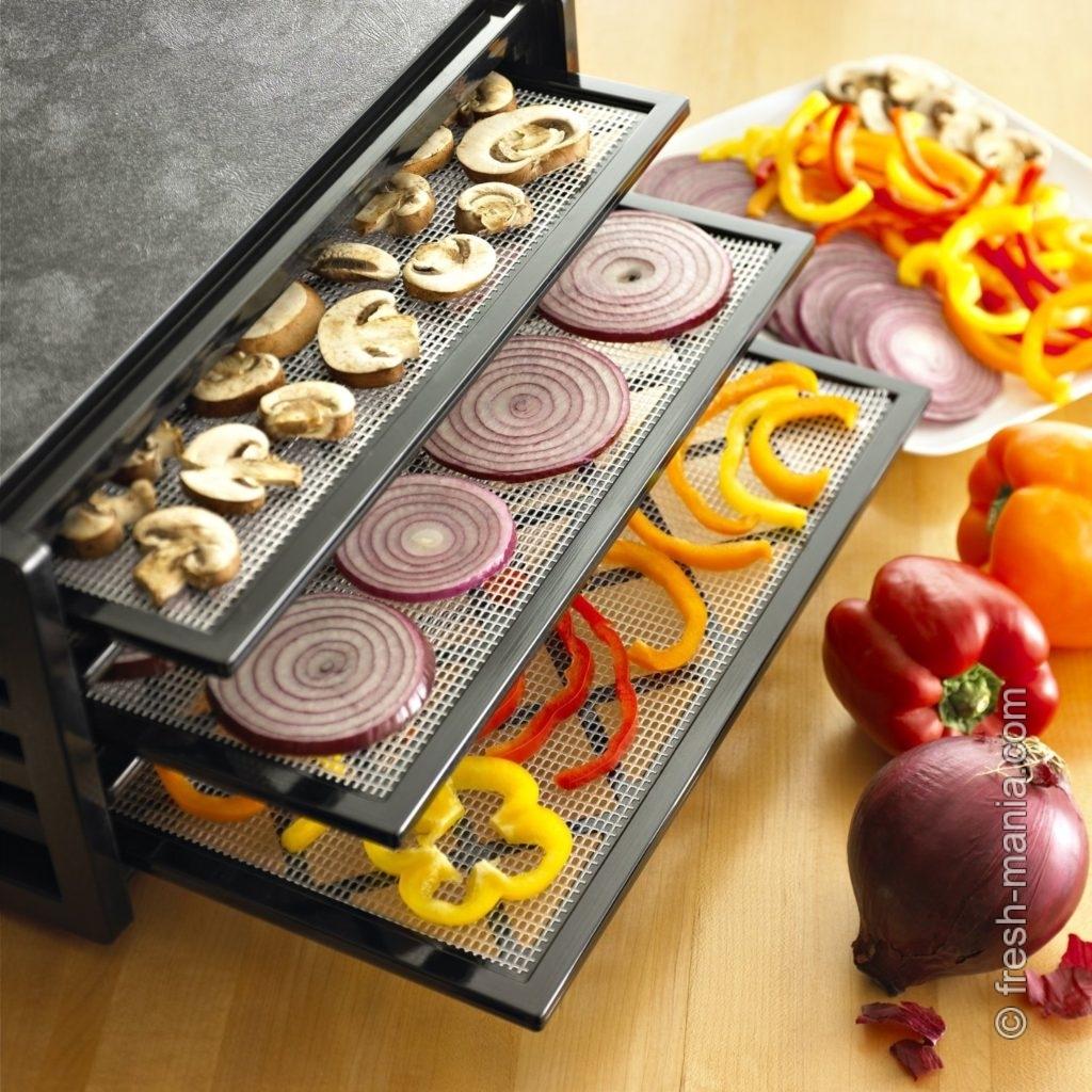 С помощью дегидраторов (сушилок) можно сушить овощи, фрукты и зелень