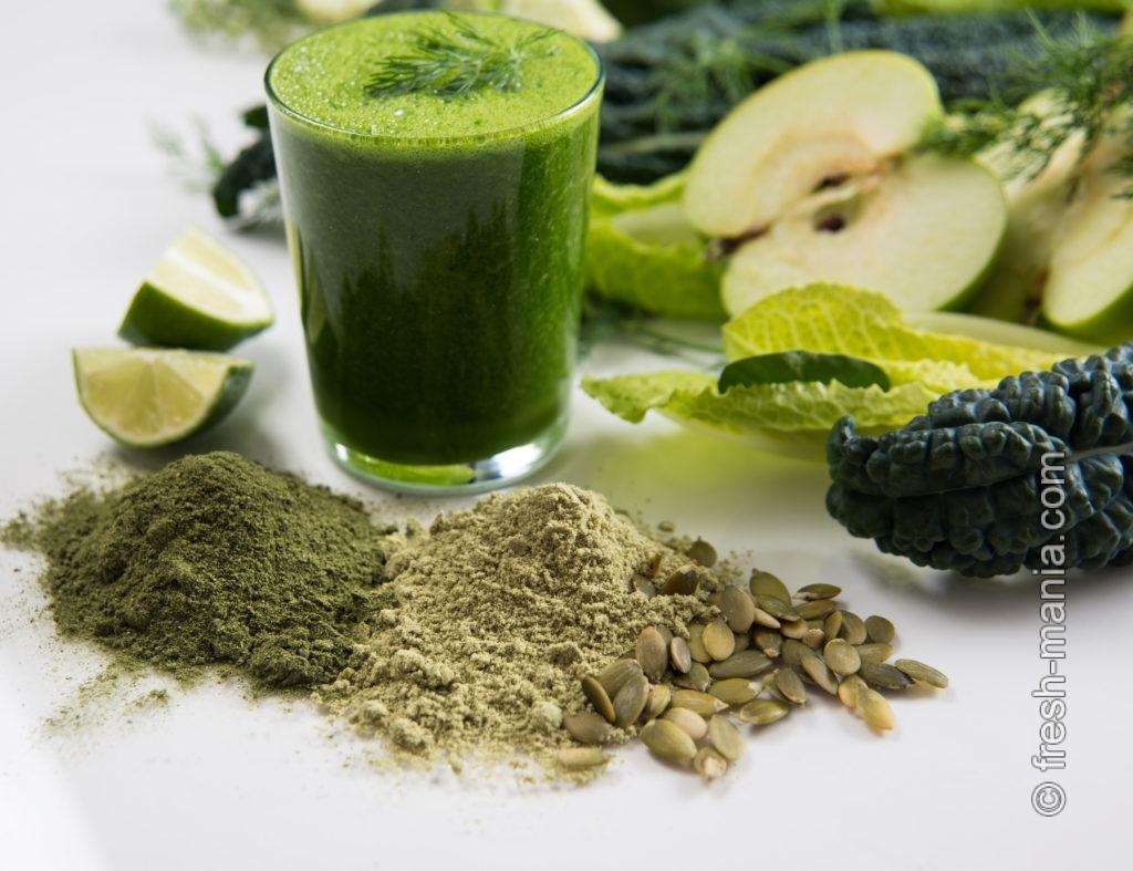Зеленые коктейли вкуснее, если добавить фрукты или семена