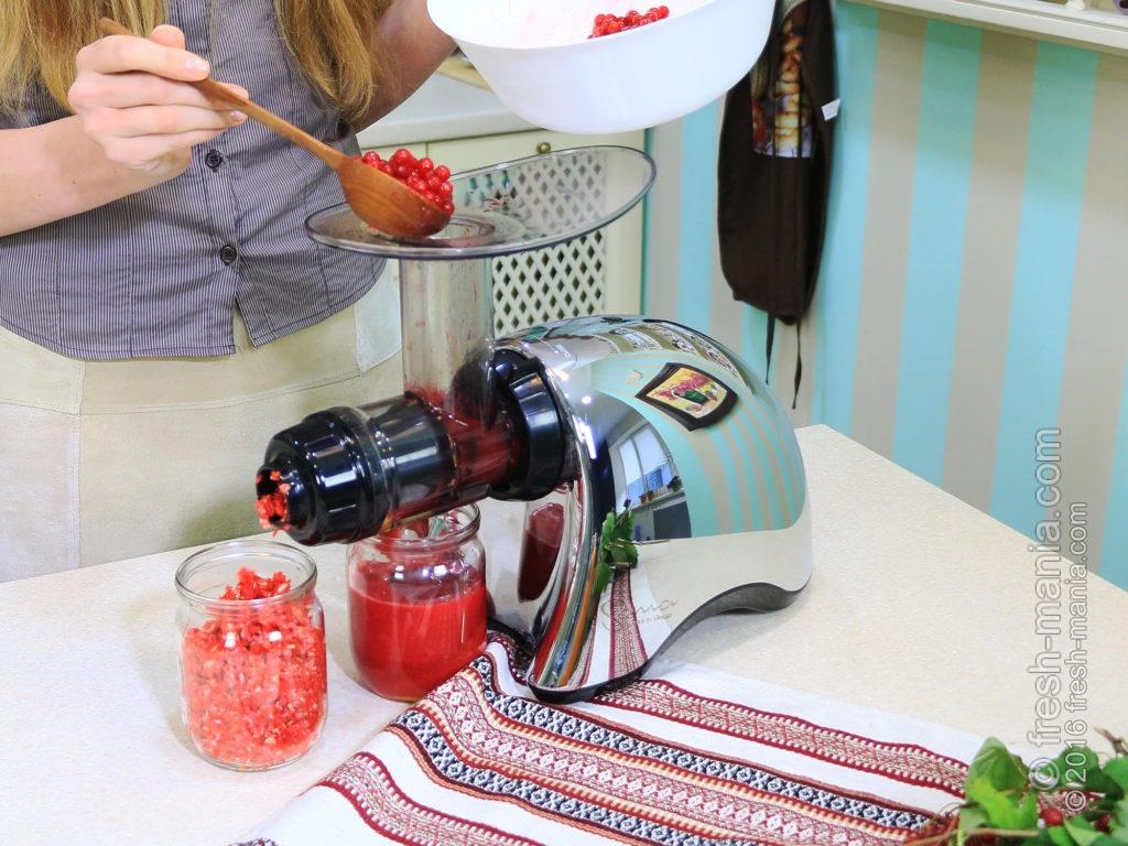 Шнековая соковыжималка идеально обрабатывает косточковые ягоды