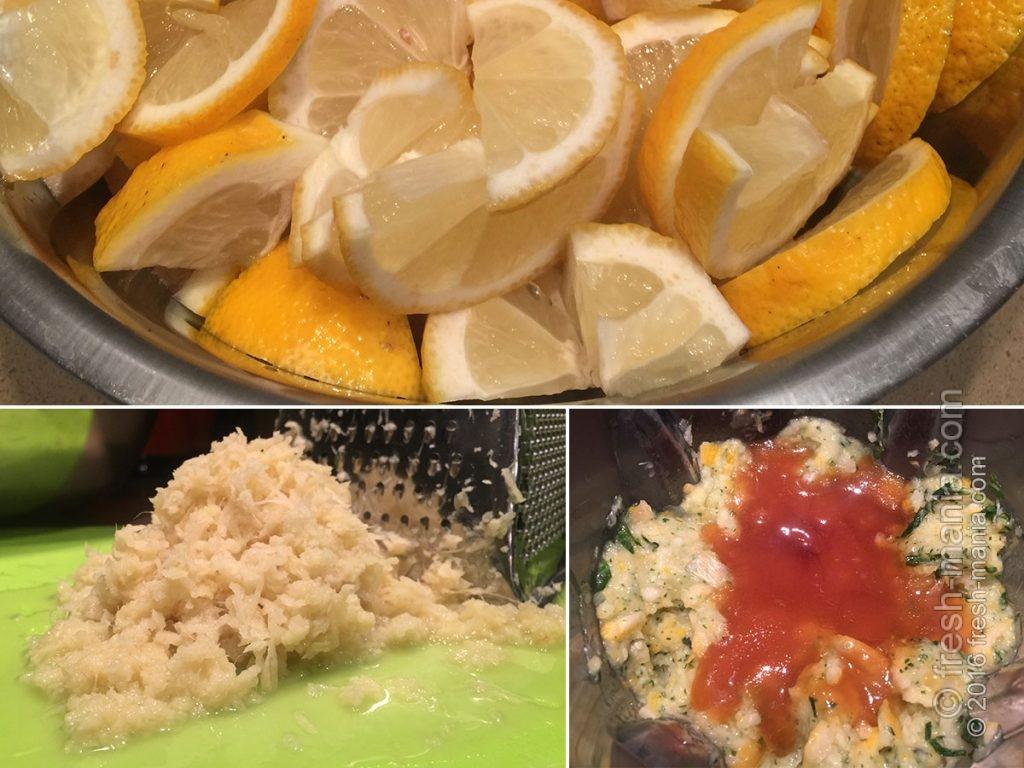 Добавляем в блендер лимоны, имбирь и мед