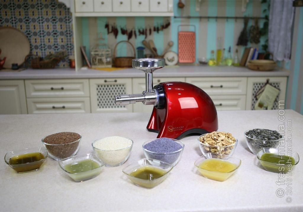 Насадка для приготовления масла холодного отжима легко справляется с семенами льна, кунжута, мака, подсолнуха и измельченным орехом