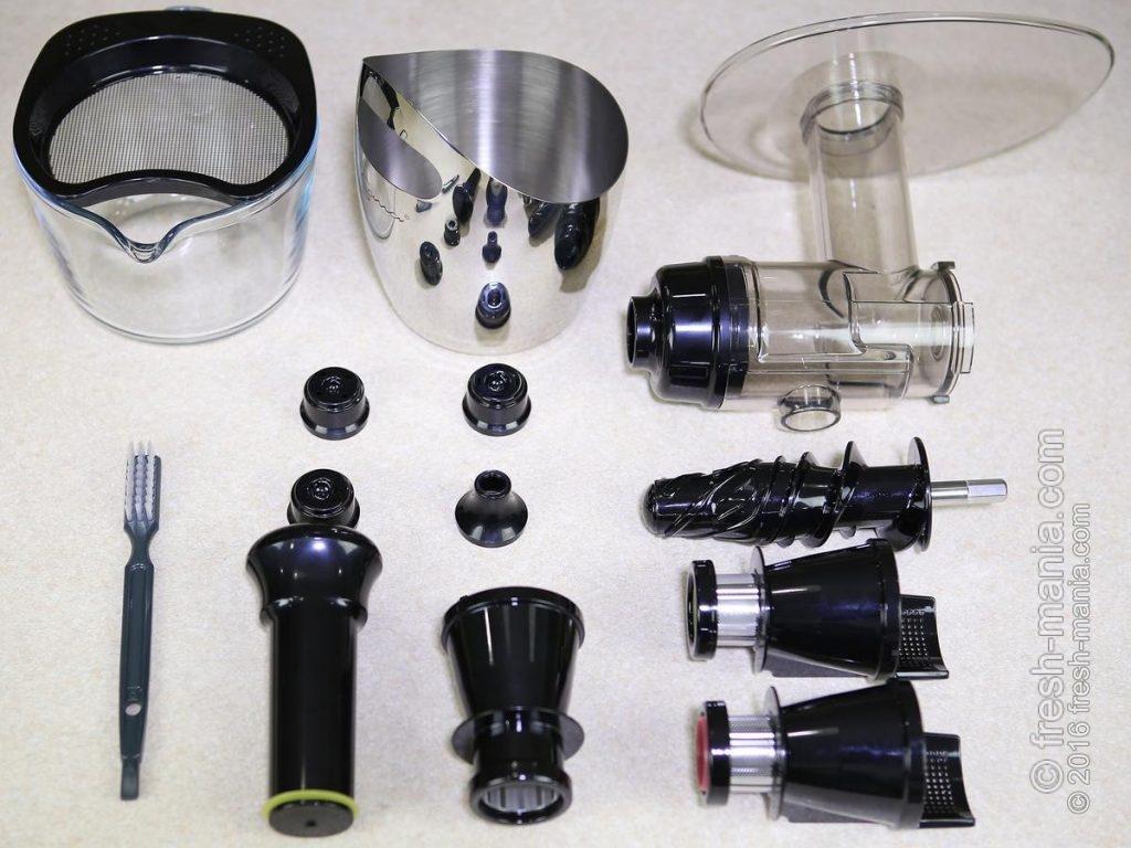 Все контактирующие с соком компоненты сделаны из BPA-free пластика и GeUltem