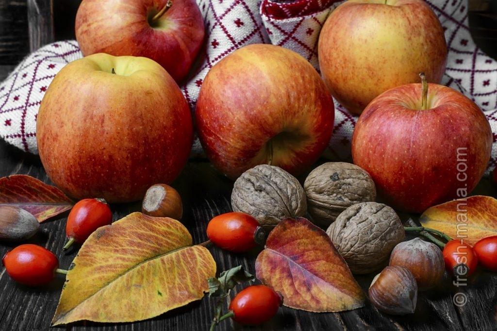 Яблоки, орехи, шиповник — источники витаминов в холода