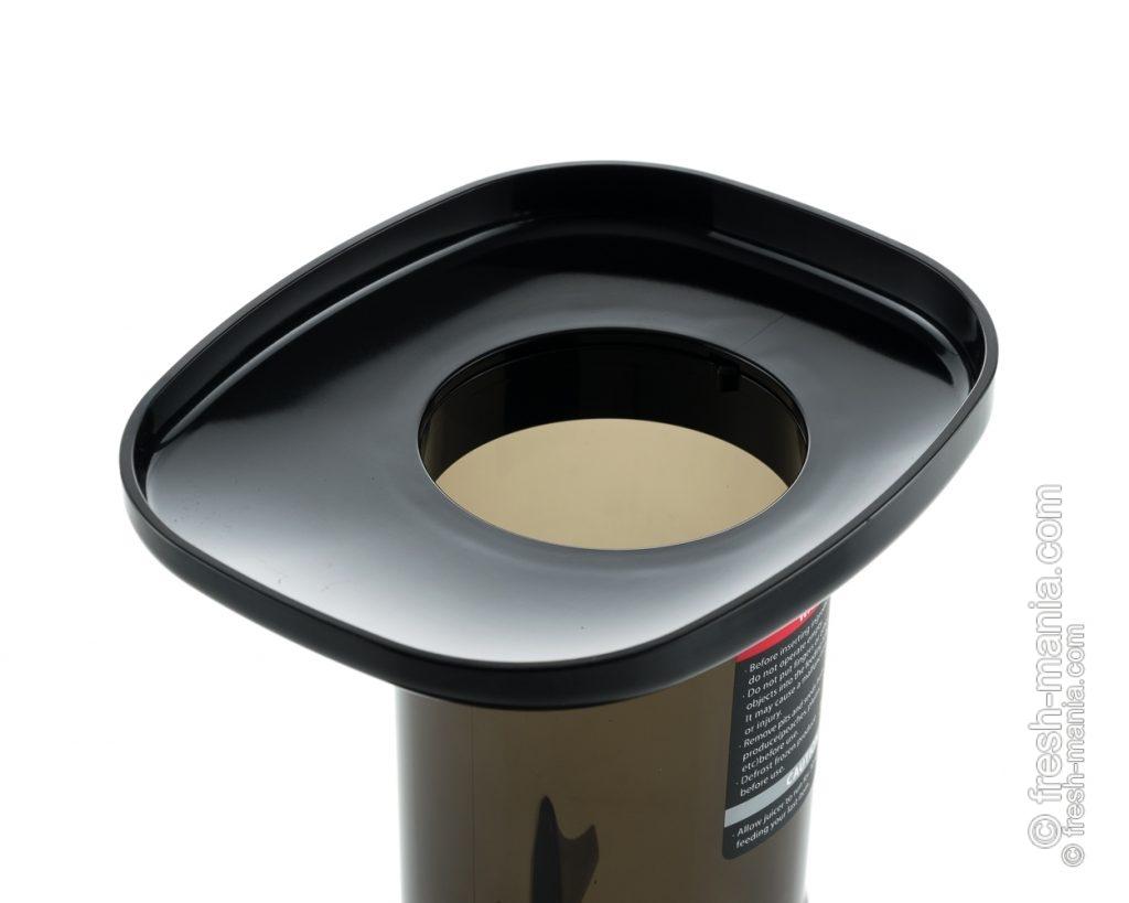 Горловина диаметром 76 мм увеличивает приготовление сока до 30%