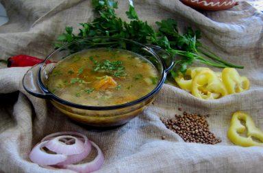 Вегетарианская уха с льняным маслом и клетчаткой