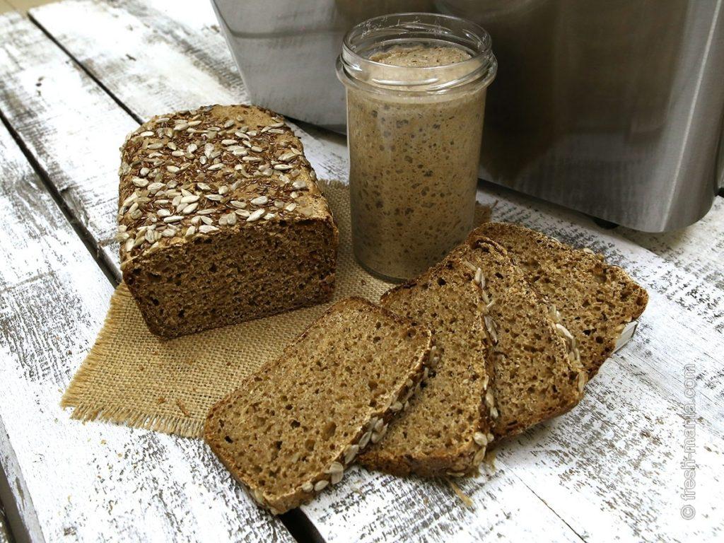 Спельтовый хлеб на закваске с помощью хлебопечки Sana