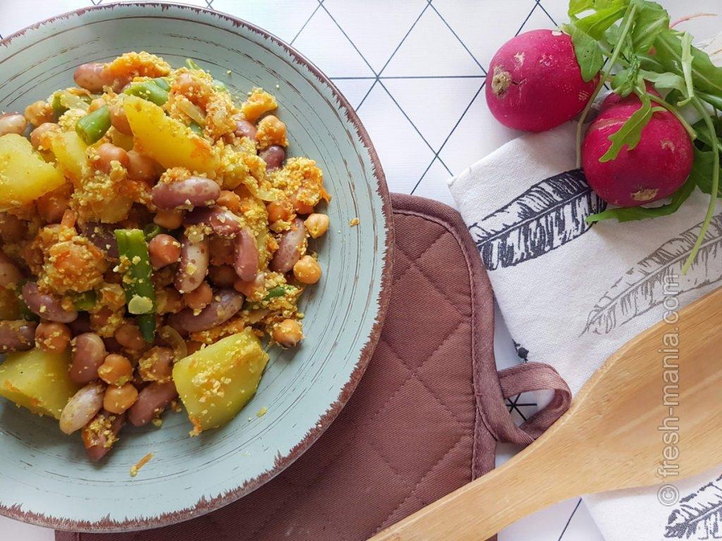 Ароматное бобово-овощное рагу