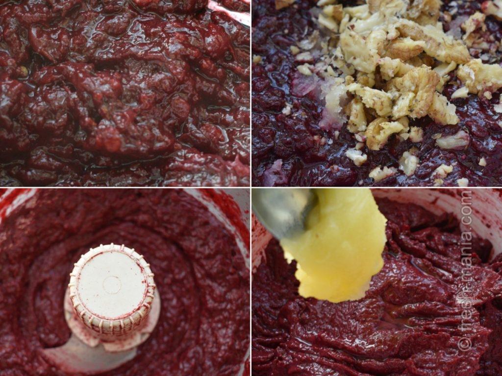 Этапы приготовления кизилового соуса