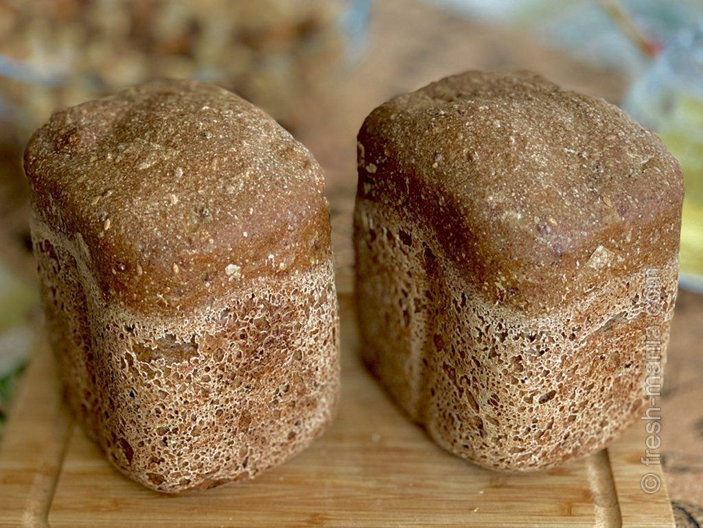 Гречнево-ржаной хлеб со льном