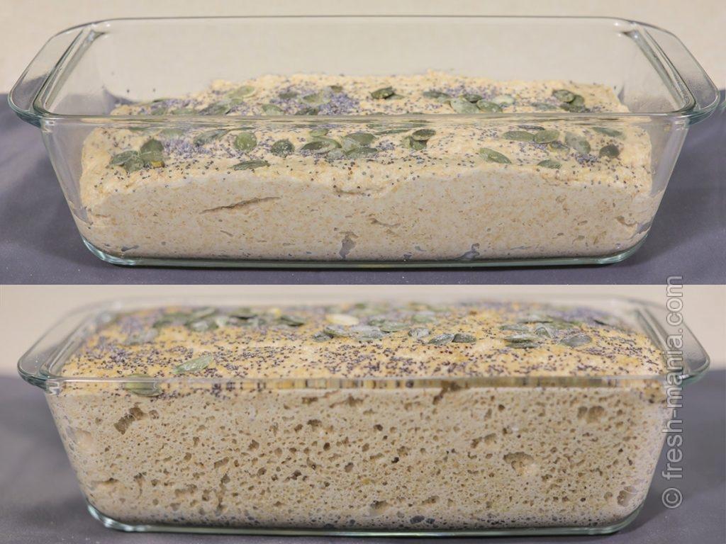Тесто во время расстойки увеличивается в объеме в 2 раза