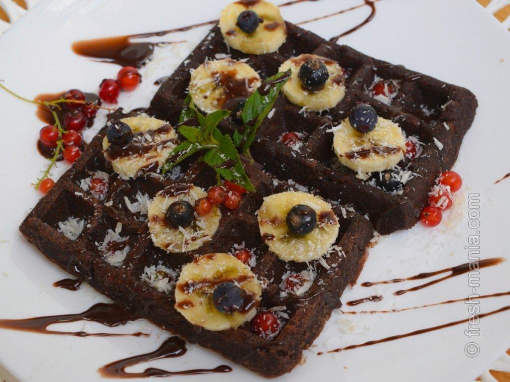 Веганские шоколадные вафли гофре