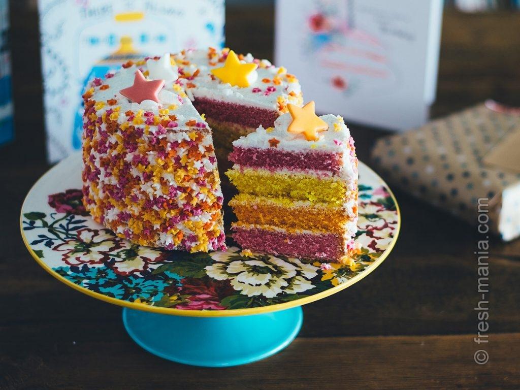 Разноцветный тортик на детский день рождения